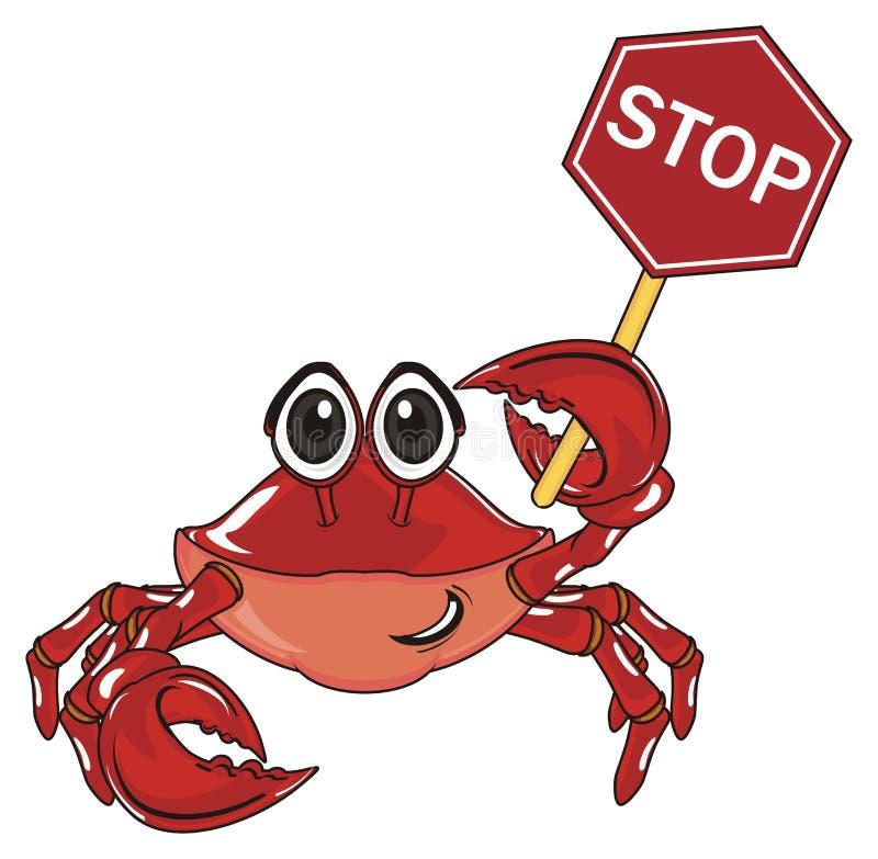 Krab z szyldową drogą ilustracja wektor