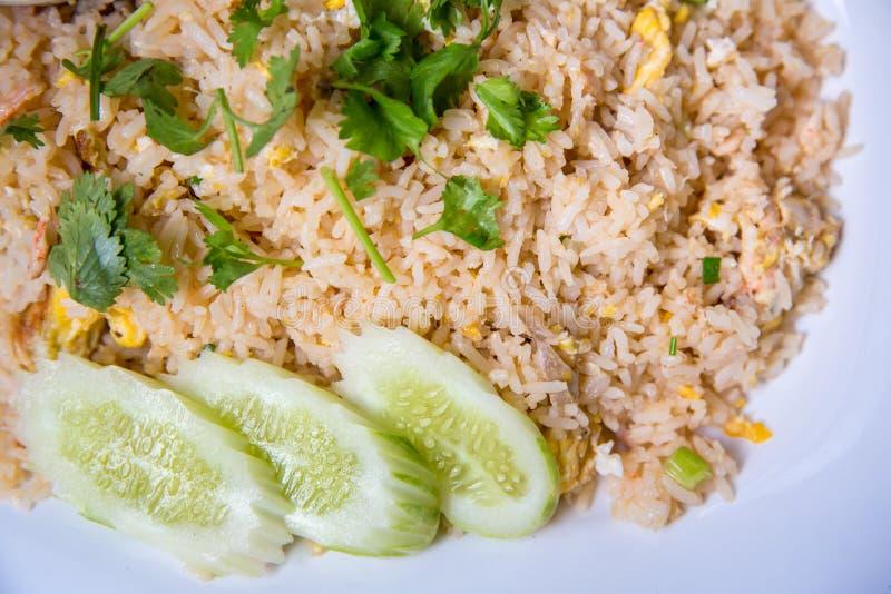 Kraba mięsa smażący ryż, Khao ochraniacz Poo Tajlandzki sławny uliczny jedzenie Tajlandzki poleca menu dla turysty fotografia royalty free