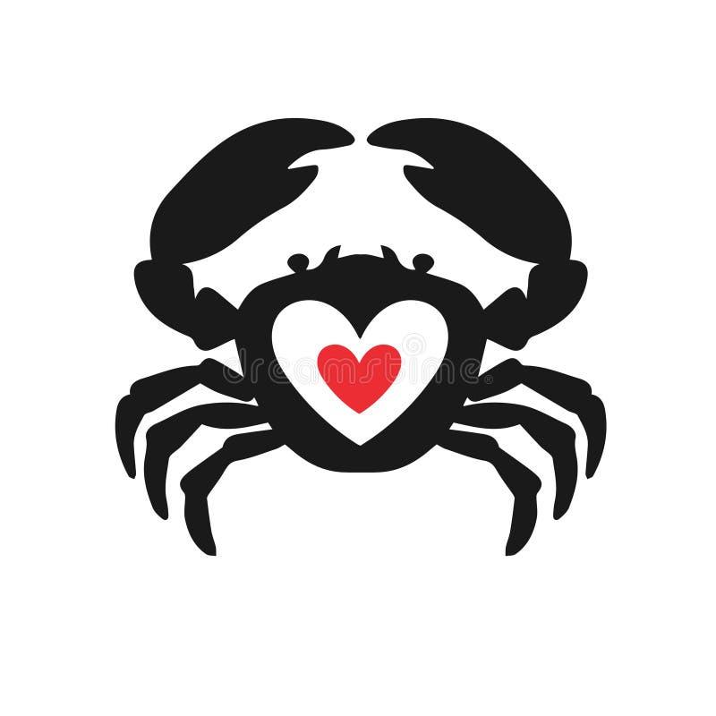 Kraba pomysłu wektoru kierowy logotyp Owoce morza miłości ikony logo kreatywnie symbol royalty ilustracja