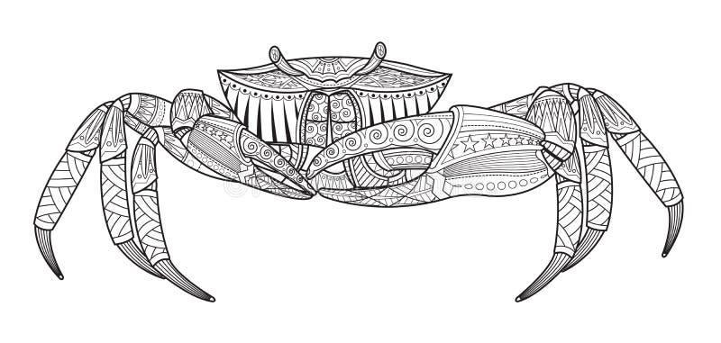 Kraba ręka rysujący denny zwierzę royalty ilustracja