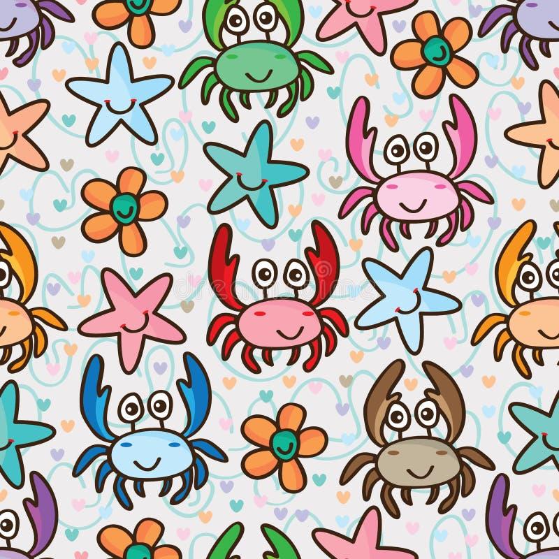 Kraba szczęśliwego gwiazdowego kwiatu kolorowy bezszwowy wzór ilustracja wektor