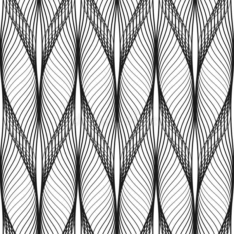 Krabb design för abstrakt sömlös modell Svart linje i modern stil på vit bakgrund royaltyfri illustrationer