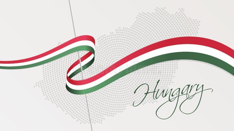 Krabb nationsflagga och radiell prickig rastrerad översikt av Ungern royaltyfri illustrationer