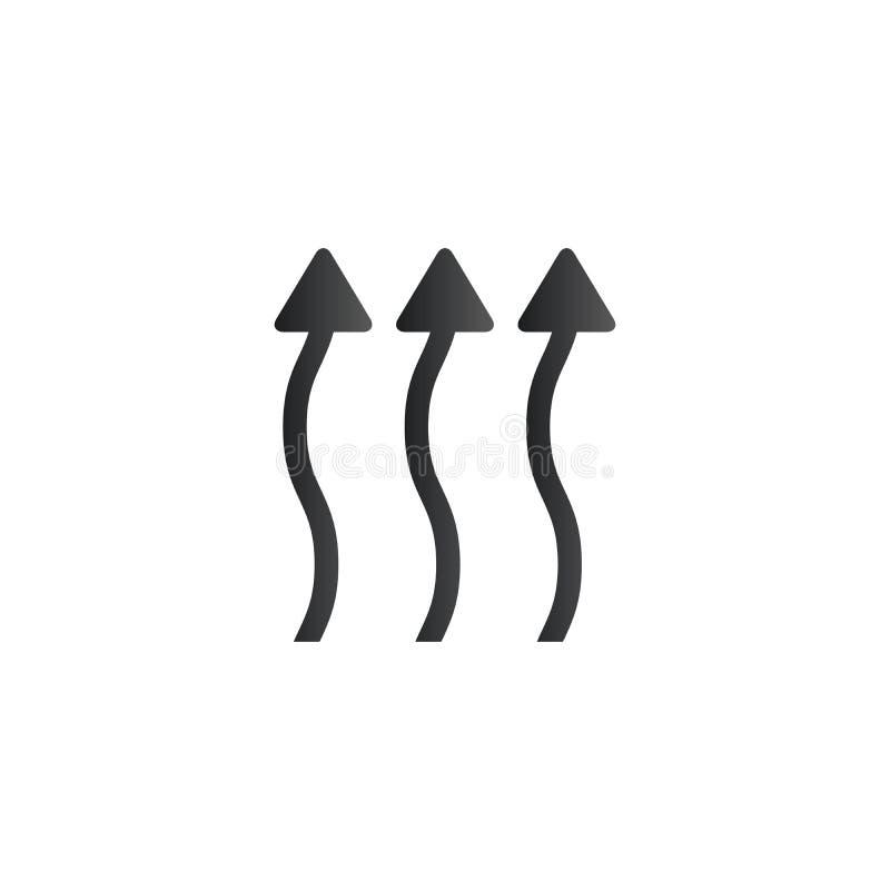 Krabba övre pilar, uppåt curvy pilar värmepilar, ångar att flytta sig upp Vektorillustration som isoleras p? vit bakgrund stock illustrationer