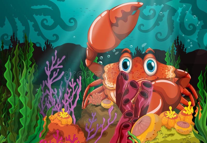 Krabba stock illustrationer