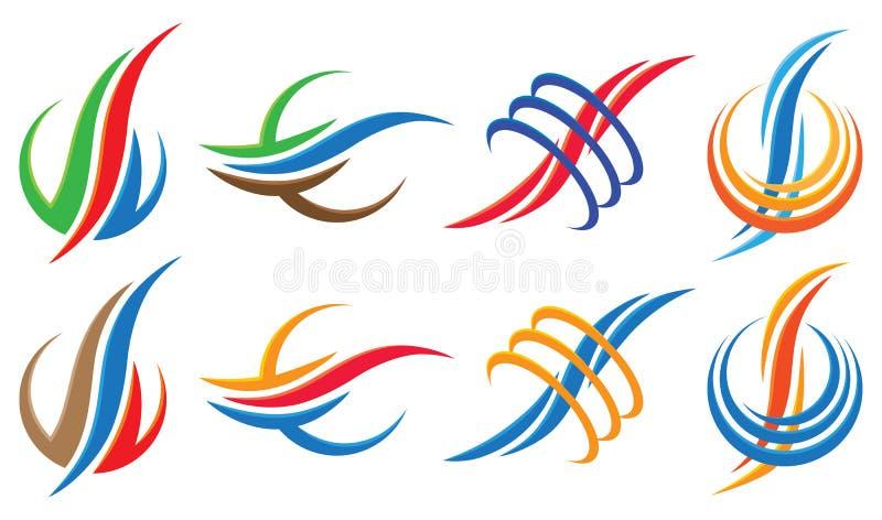 Krabba Logo Icon Set vektor illustrationer