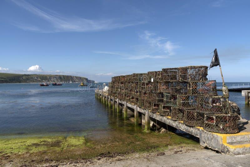 Krabba- och hummerkrukor i den Swanage fjärden England UK arkivbild