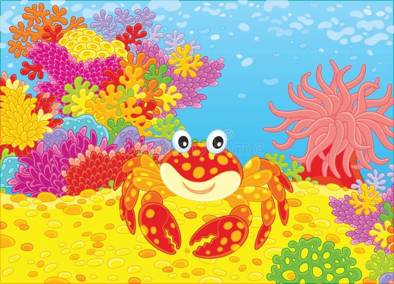 Krabba och koraller stock illustrationer