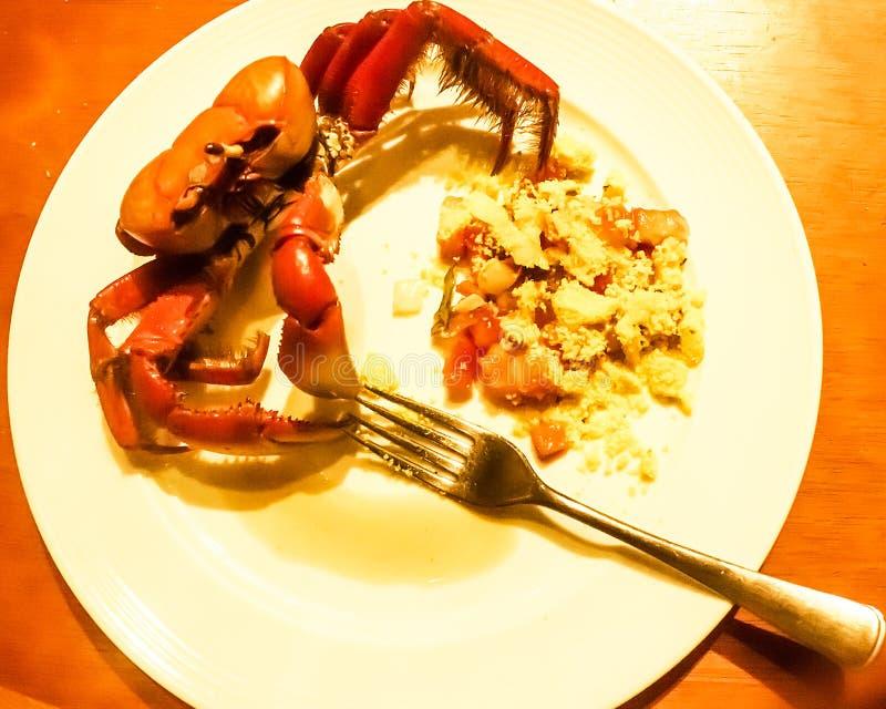 Krabba som lagas mat med brasilianska smaktillsatser i Vila Velha, EspÃrito Santo tillstånd, Brasilien royaltyfria foton
