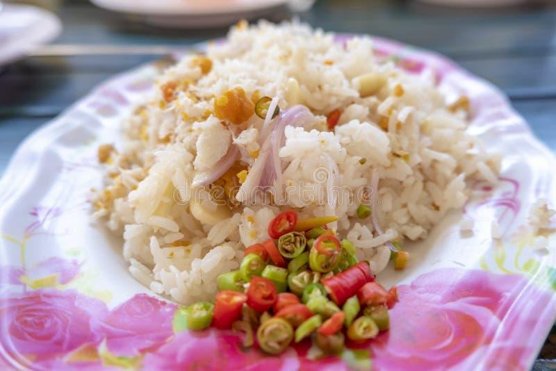 krabba stekt rice royaltyfria foton