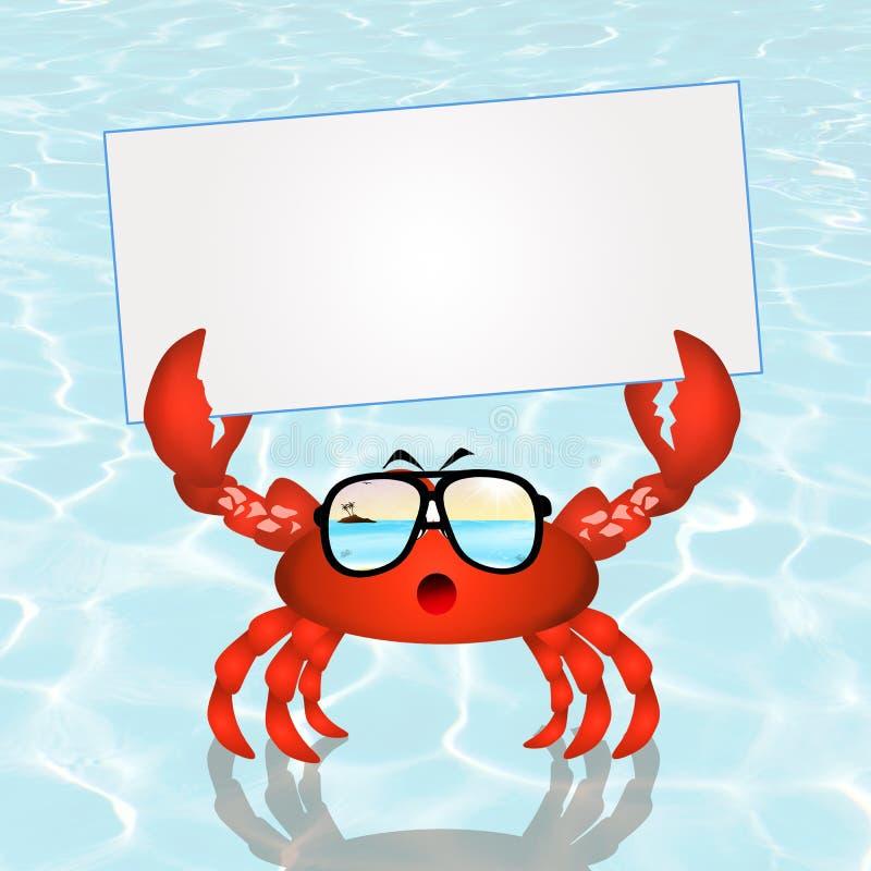 Krabbe mit Karte lizenzfreie abbildung