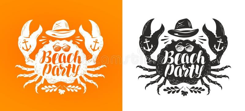 Krabbe, typografisches Design Reise, Reisekonzept Strandfest, Vektorillustration beschriftend stock abbildung