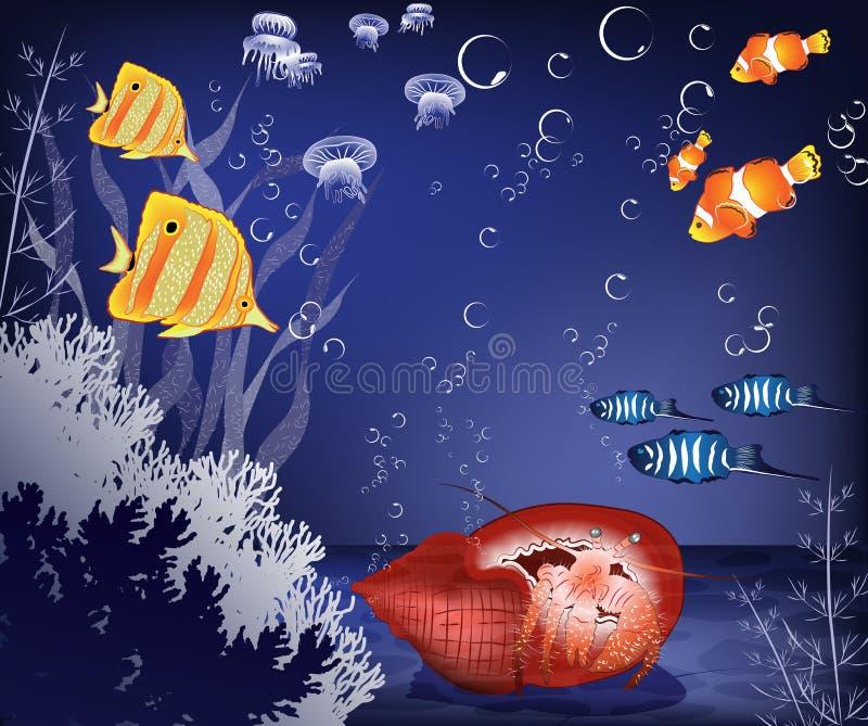 Krabbe Unterwasser vektor abbildung