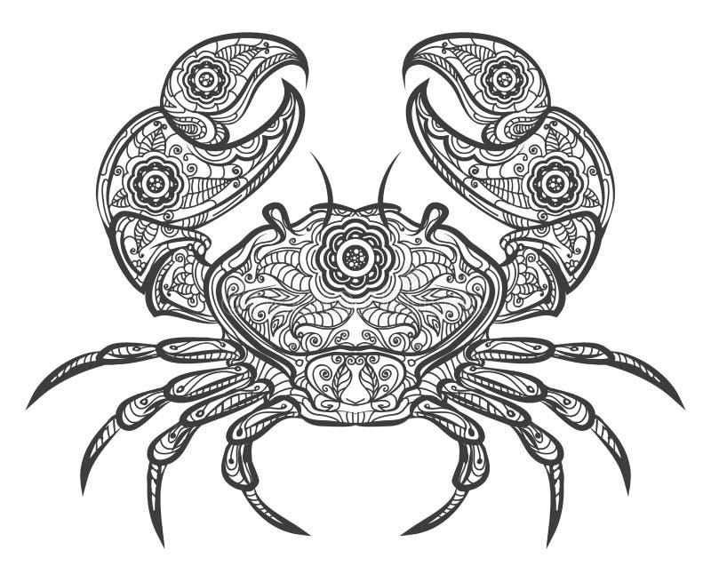 Krabbe zentangle Ikone Gezeichnete Krabbe des Vektors Hand stock abbildung