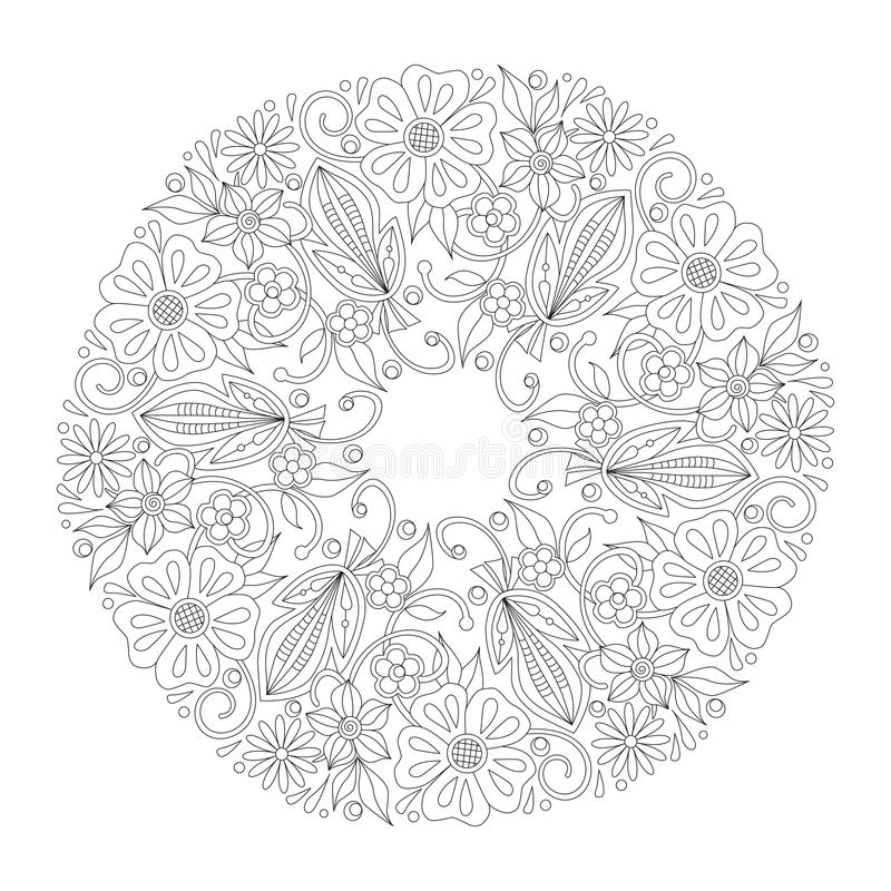 Krabbel bloemen rond ornament in zwart-wit Pagina voor het kleuren van boek: ontspannende baan voor kinderen en volwassenen Zenta vector illustratie