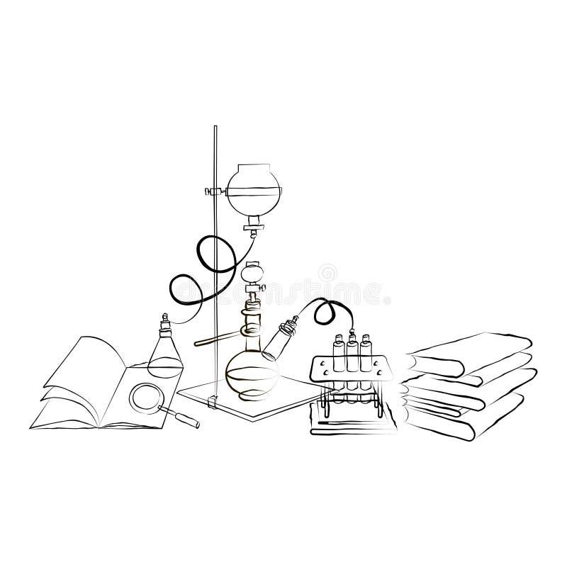 Krabbel Chemisch Laboratorium vector illustratie
