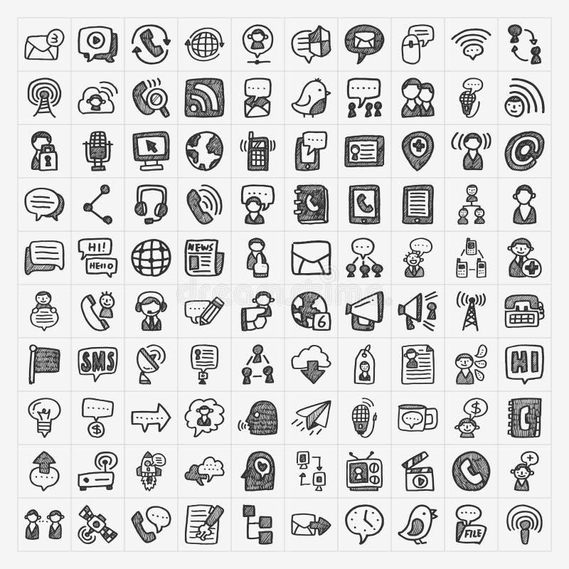 Krabbel communicatie geplaatste pictogrammen stock illustratie