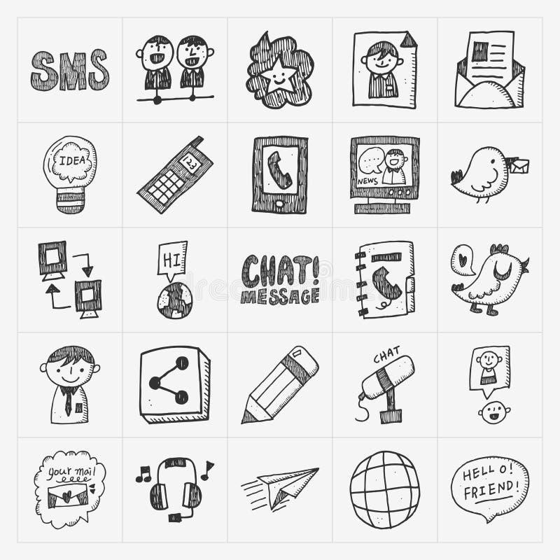 Krabbel communicatie geplaatste pictogrammen vector illustratie