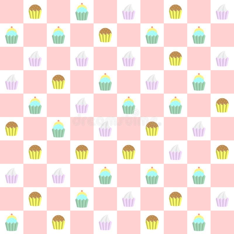 Krabbel cupcakes naadloos patroon vector illustratie