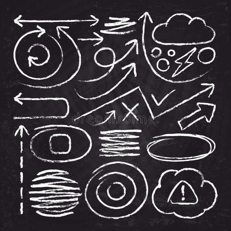 Krabbel de witte pijlen en elementen van het de slaggekrabbel van het krijtontwerp Schetscirkel, lijn, ronde grenzen vectorreeks vector illustratie