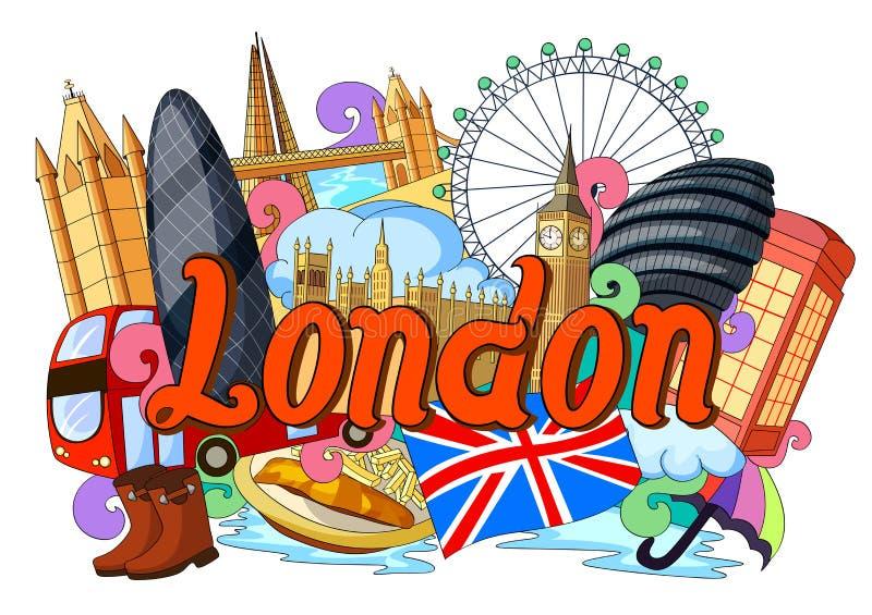 Krabbel die Architectuur en Cultuur van Londen tonen stock illustratie
