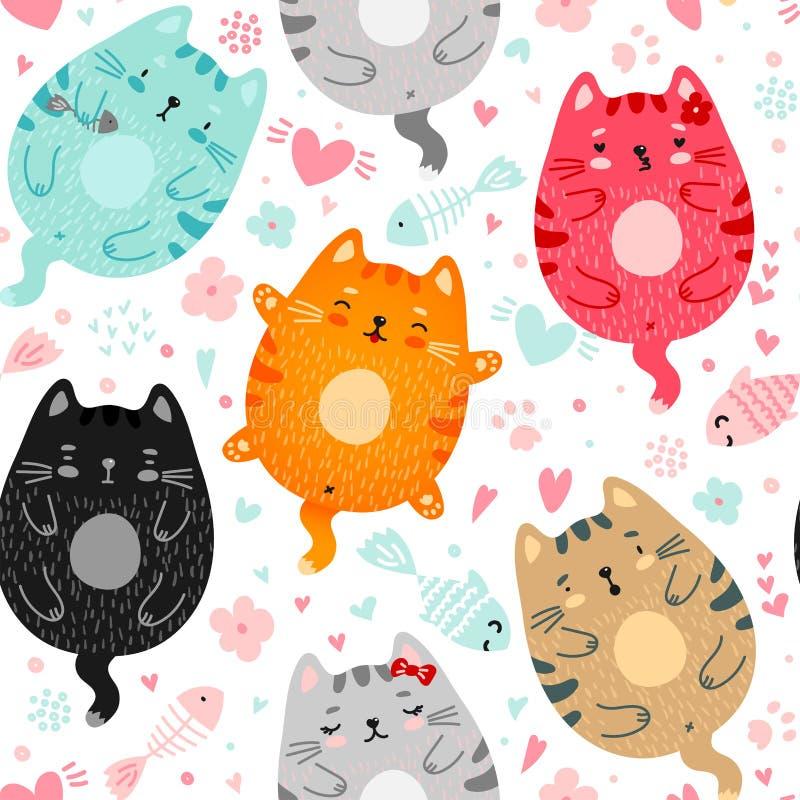 Krabbel gekleurd katten naadloos patroon vector illustratie