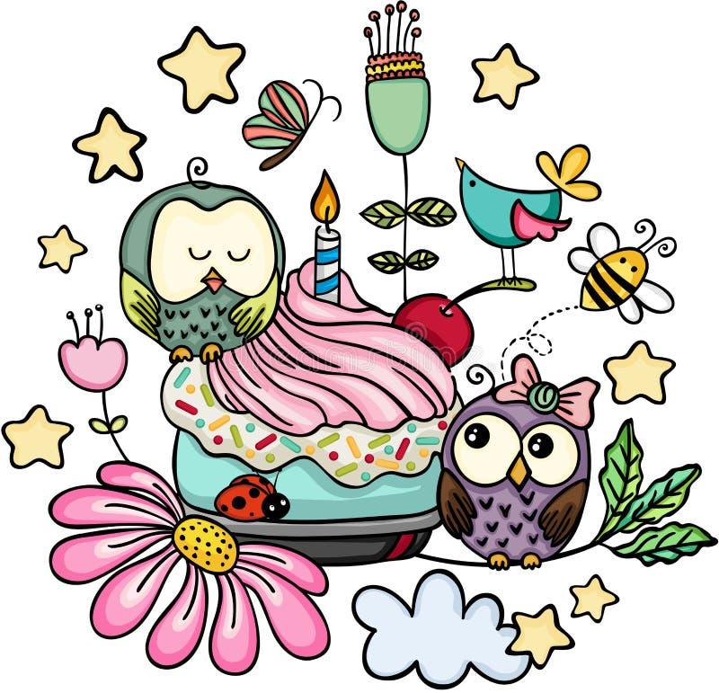 Krabbel gelukkige verjaardag met uilen stock illustratie