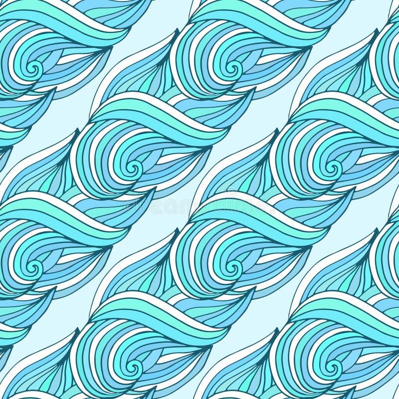 Krabbel golvend het herhalen patroon Blauwe golven vector tropische achtergrond Voor textiel of verpakkingsontwerp stock illustratie