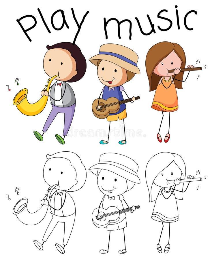 Krabbel grafisch van musicus stock illustratie