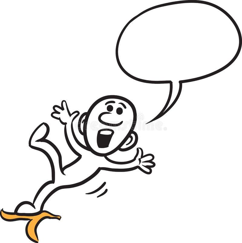 Krabbel kleine persoon die - op de banaanschil uitglijden vector illustratie