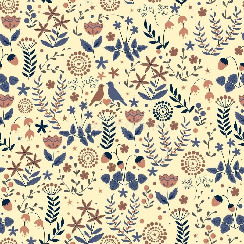 Krabbel naadloos bloemenpatroon met bloemen en vogels royalty-vrije illustratie