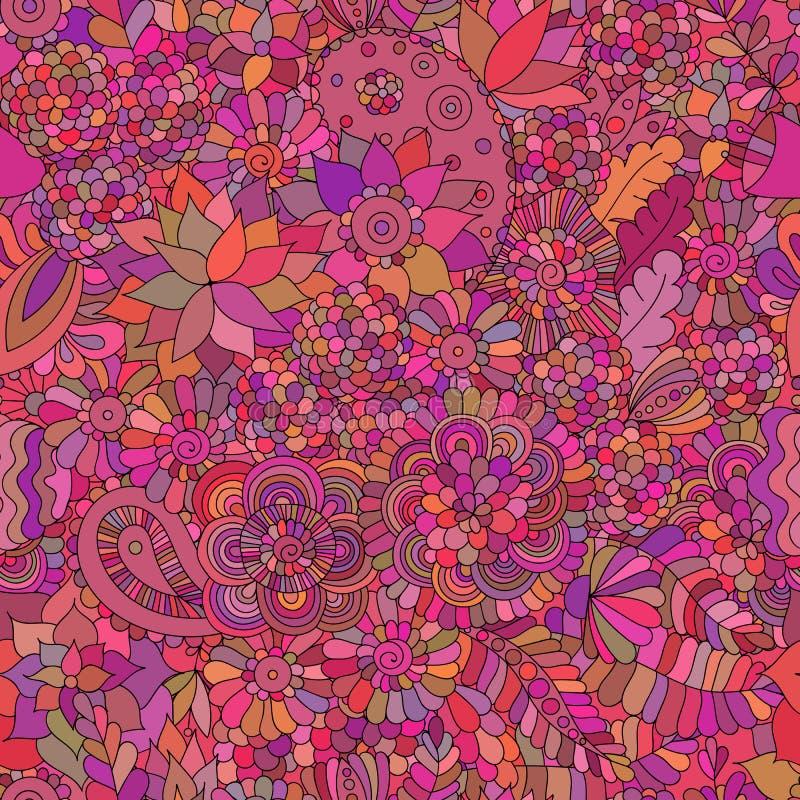 Krabbel naadloos oosters roze als achtergrond vector illustratie