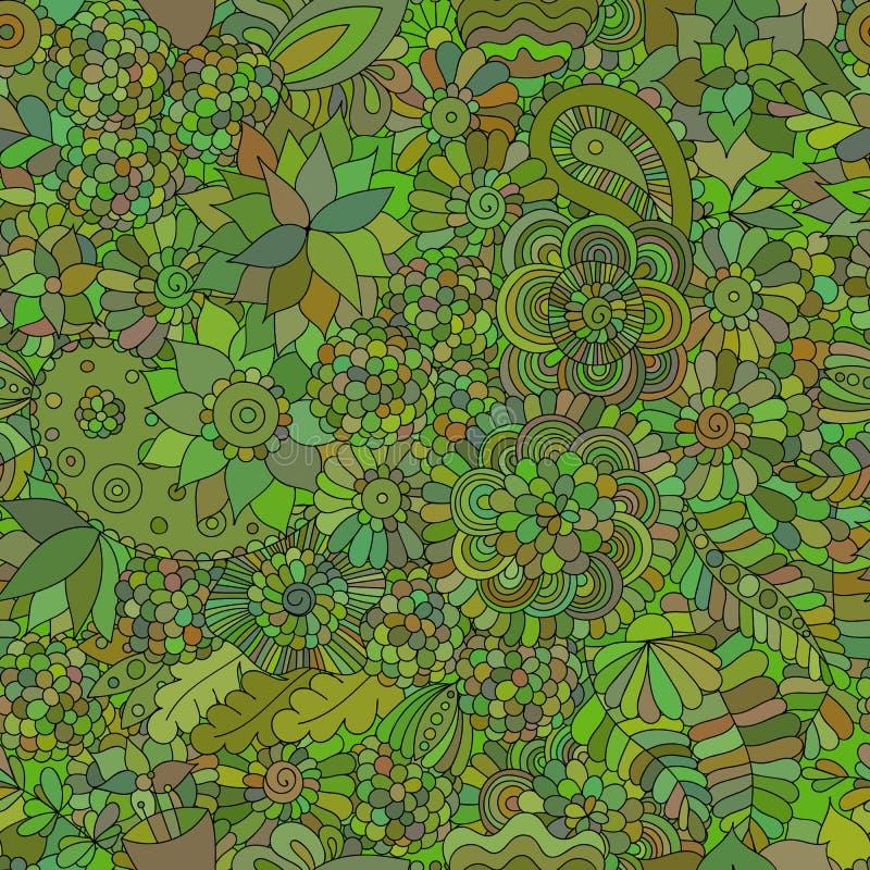 Krabbel naadloze oosterse groen als achtergrond royalty-vrije illustratie