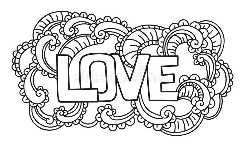 Krabbel op de Dag van Valentine Geïsoleerd malplaatje Vector illustratie royalty-vrije illustratie