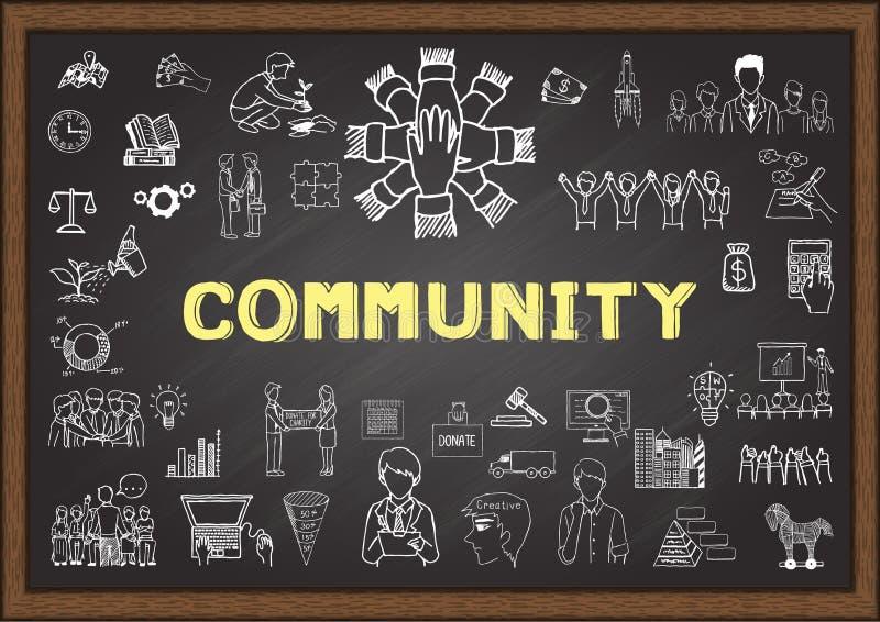 Krabbel over gemeenschap op bord vector illustratie