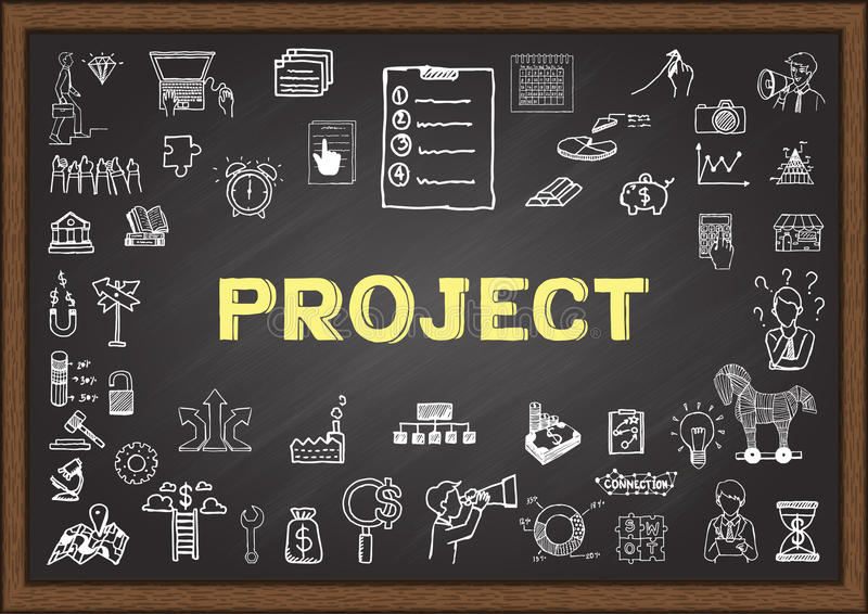 Krabbel over project op bord stock illustratie