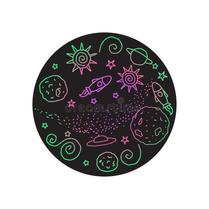 Krabbel rond teken Heldere kleurenruimte Vector illustratie Planeten, UFO, raket, sterren op een zwarte cirkel worden geïsoleerd  stock illustratie