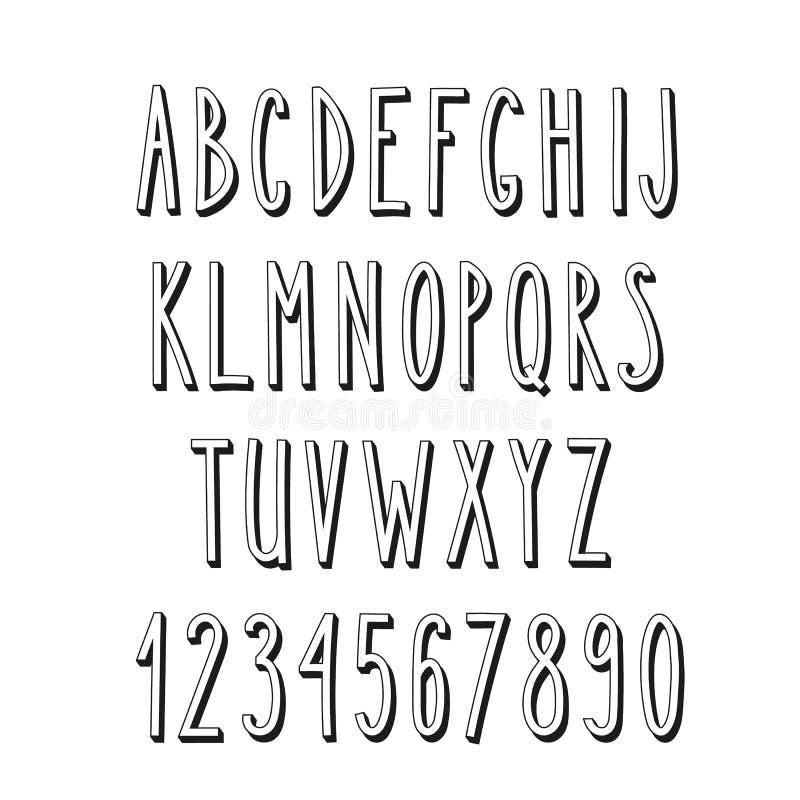 Krabbel smal alfabet, eenvoudige brieven royalty-vrije illustratie