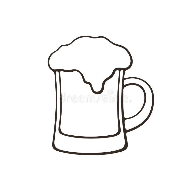 Krabbel van een mok bier met schuim royalty-vrije illustratie
