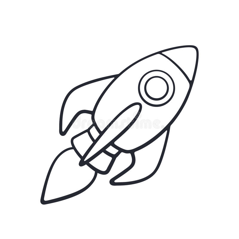Krabbel van raket ruimteschip die op witte achtergrond vliegen vector illustratie