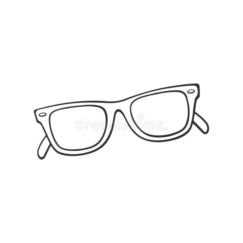 Krabbel van retro zonnebril hoorn-omrande glazen vector illustratie