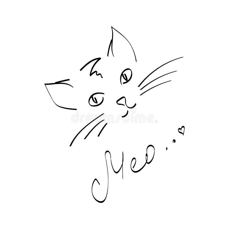 Krabbel vectorillustratie van leuke kat stock illustratie