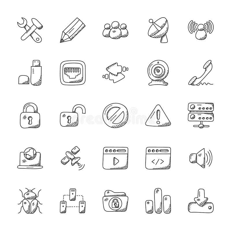 Krabbel Vectorpictogrammen van Internet stock illustratie