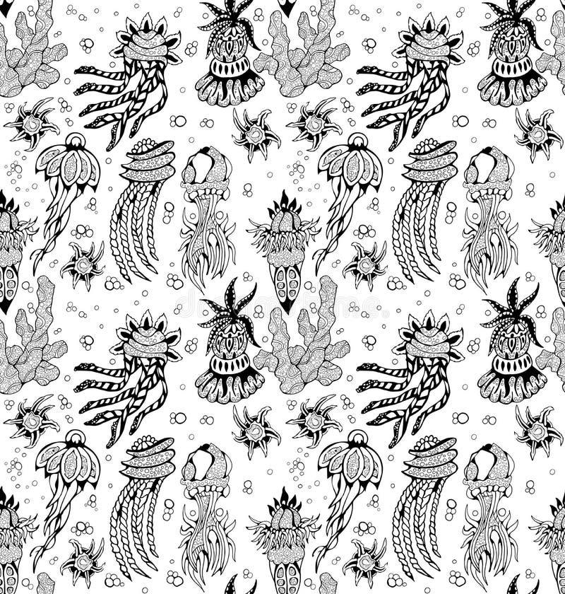 Krabbel zwart-witte abstracte hand-drawn achtergrond royalty-vrije illustratie