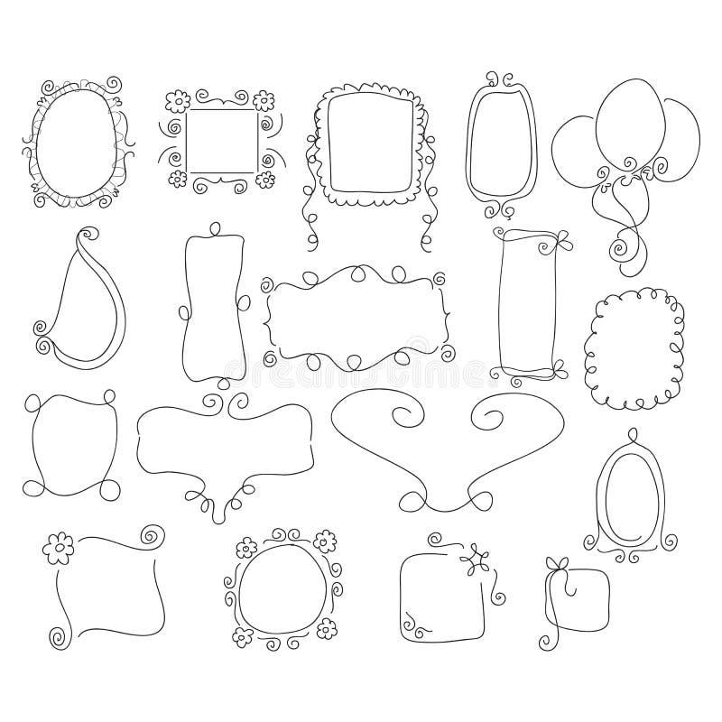 Krabbel zwart-witte kaders vector illustratie