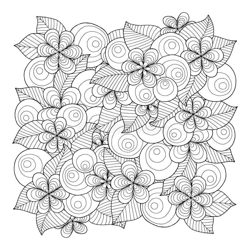 Krabbelachtergrond in vector met krabbels, bloemen en Paisley royalty-vrije illustratie