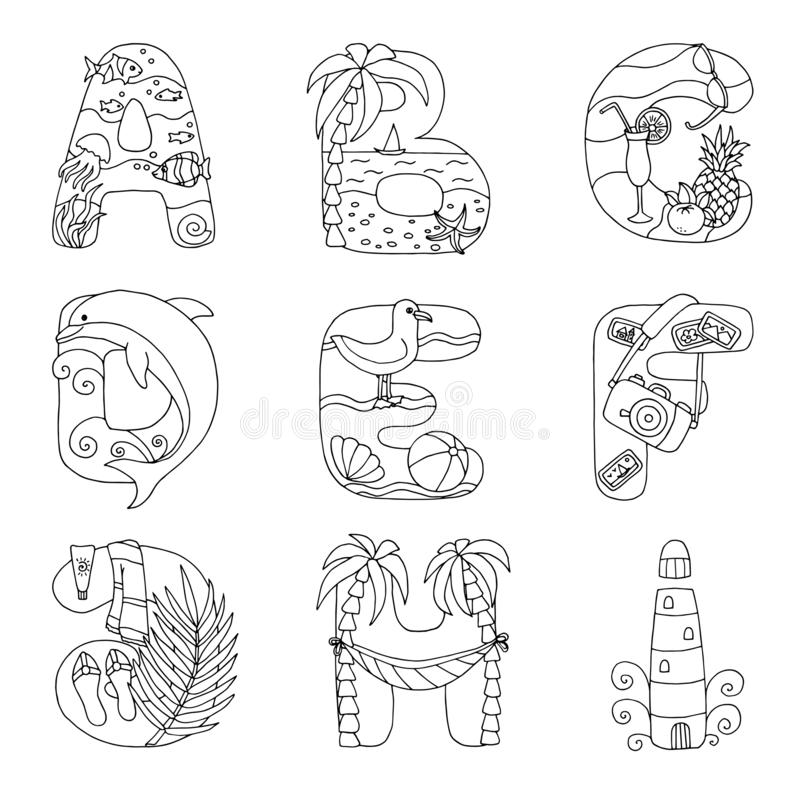 Krabbelalfabet met rust op het overzees, van A aan I, voor het kleuren van pagina stock illustratie