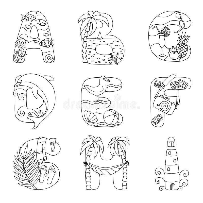 Krabbelalfabet met rust op het overzees, van A aan I, voor het kleuren van pagina royalty-vrije illustratie