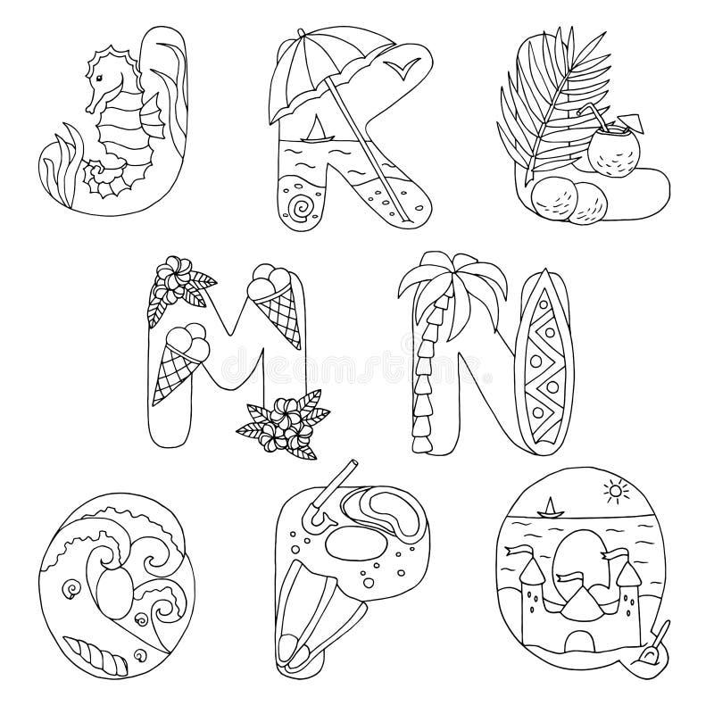 Krabbelalfabet met rust op het overzees, van J aan Q, voor het kleuren van pagina vector illustratie