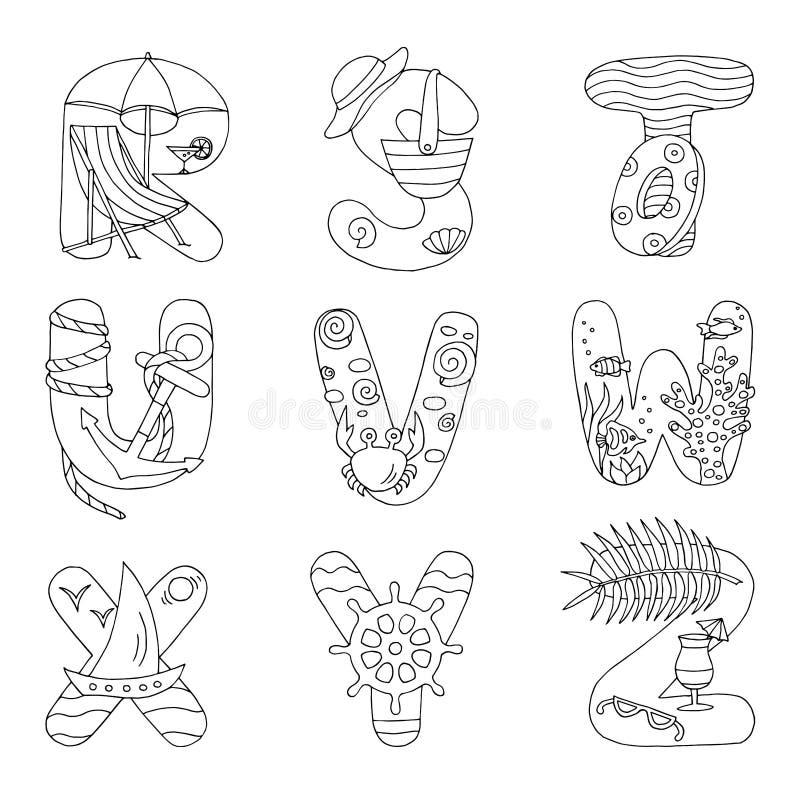 Krabbelalfabet met rust op het overzees, van R aan Z, voor het kleuren van pagina stock illustratie